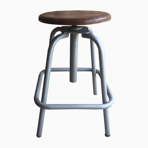 Vintage French Industrial Swivel Stool from L. Sautereau Crépy