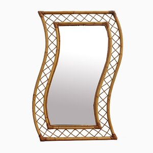 Mid-Century French Bamboo & Rattan Mirror
