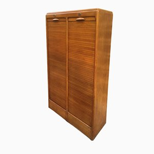Mid-Century French Double Tambour Filing Cabinet in Oak, 1950s