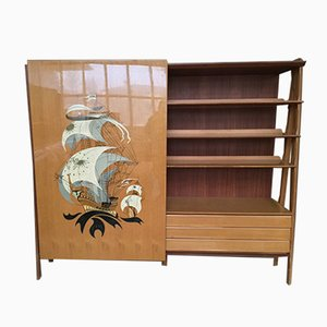 Vintage Sliding Door Painted Ship & Lacquer Wardrobe, 1950s