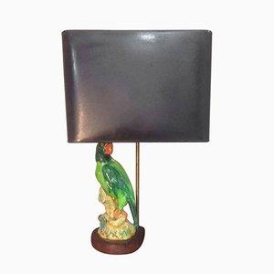 Französische Papagei Keramik Tischlampe, 1960er