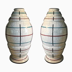 Large French Art Deco Vases in Craquelè, 1930s, Set of 2
