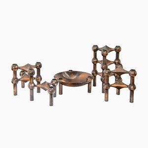 Stapelbares Mid-Century Kerzenhalter Set mit Schale von Fritz Nagel