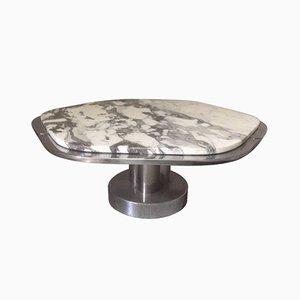 Tavolino da caffè in marmo e placcato in cromo, Italia, anni '70