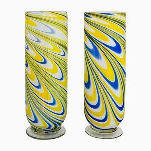 Vases Vintage en Verre de Murano, Italie, Set de 2