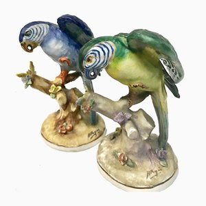 Ceramic Parrots by Antonio Peyro, Set of 2