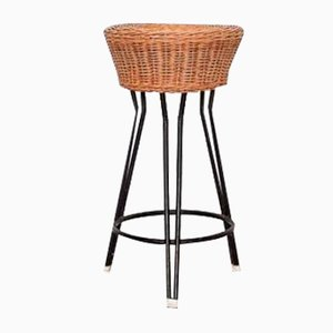 Vintage Rattan & Metal Stool by Rohé Noordwolde