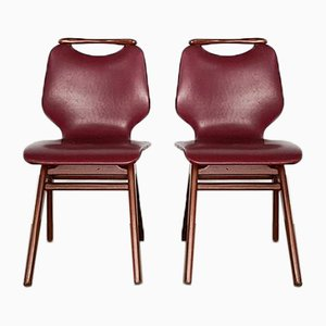 Dutch Teak & Faux-Leather Dining Chairs, 1960s, Set of 2