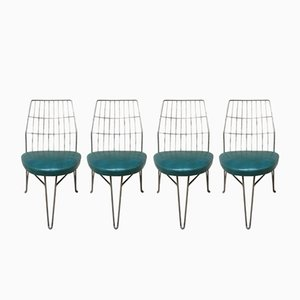 Iron & Green Skai Chairs, 1940s, Set of 4