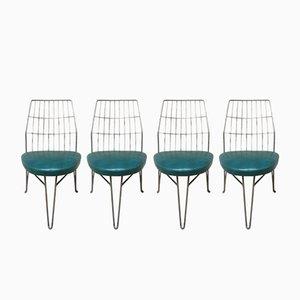 Stühle aus Eisen & grünem Skai, 1940er, 4er Set