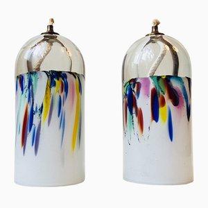 Lámparas de aceite danesas de vidrio salpicado de Holmegaard, años 70. Juego de 2