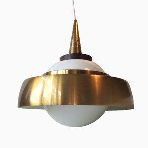 Lampe à Suspension Saturn Scandinave en Palissandre, Laiton et Verre Opalin, 1960s