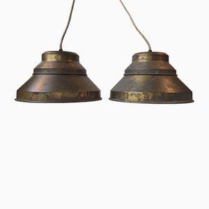 Lampes à Suspension Nautiques en Laiton par Sidse Werner pour Holmegaard, 1970s, Set de 2