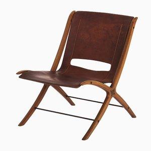 Cognacfarbener Modell X Leder Stuhl von Peter Hvidt & Orla Mølgaard-Nielsen für Fritz Hansen, 1950er