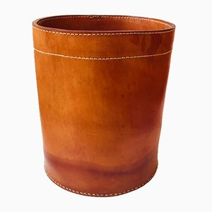 Danish Tan Leather Paper Waste Basket, 1960s