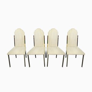 Italian Brass Dining Chairs by Alain Delon for Maison Jansen, 1970s, Set of 4