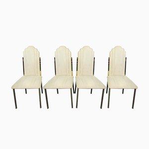 Italienische Messing Esszimmerstühle von Alain Delon für Maison Jansen, 1970er, 4er Set