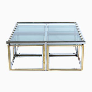 Italian Brass & Glass Coffee Table with Nesting Tables from Banci, 1970s