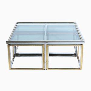 Mesa de centro con mesas nido italiana de vidrio y latón de Banci, años 70