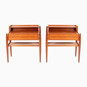 Mid-Century Danish Teak & Brass Nightstands, Set of 2