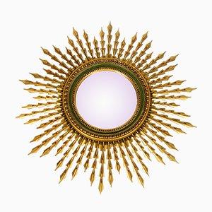 XL Mid-Century Sunburst Mirror in Gilded Wood