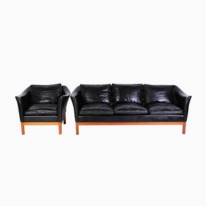 Mid-Century Danish Leather Sofa & Lounge Chair