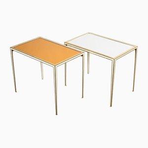 Tavolini in ottone e vetro specchiato di Vereinigte Werkstätten, anni '60, set di 2
