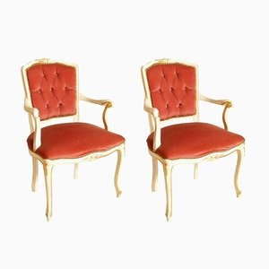 Vintage Louis XV Style Armchairs in Red Velvet, Set of 2