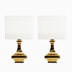 French Brass Table Lamps by Maria Pergay, 1970s, Set of 2