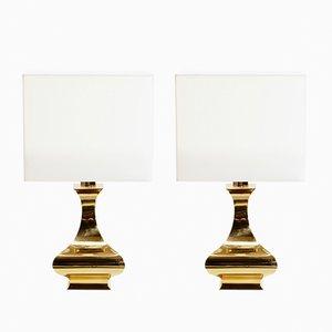 Lámparas de mesa francesas de latón de Maria Pergay, años 70. Juego de 2