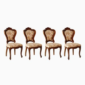 Italian Hand-Carved Walnut Chairs, 1930s, Set of 4