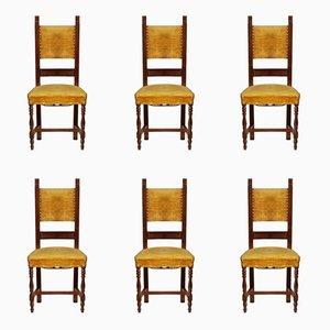 Italienische Vintage Nussholz Stühle, 6er Set