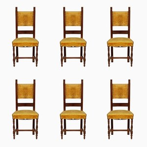 Vintage Italian Walnut Chairs, Set of 6
