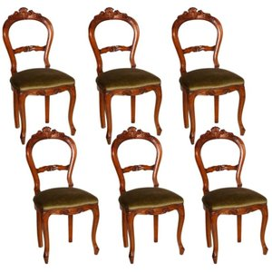 Italian Walnut Chairs, Set of 6