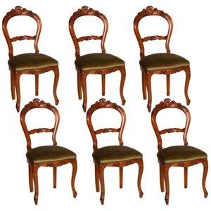 Italienische Nussholz Stühle, 6er Set