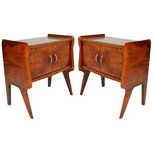Italian Nightstands with Glass Tops, 1940s, Set of 2