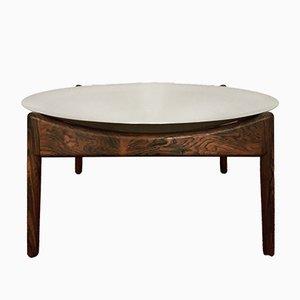 Tavolino Modus in palissandro con scodella in alluminio di Kristian Solmer Vedel per Søren Willadsen, anni '60