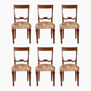 Italian Neoclassical Blond Walnut Dining Chairs, Set of 6
