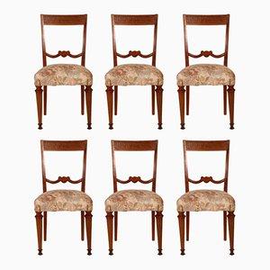Italienische Neoklassische Nussholz Esszimmerstühle, 6er Set