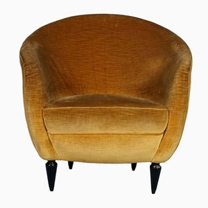 Italian Velvet Lounge Chair, 1930s