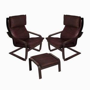 Pair of Model Poäng Leather Cantilever Chairs with Footrest by Noboru Nakamura for Ikea, 1970s
