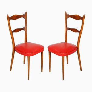 Leather Side Chairs with Spring Seats, 1940s, Set of 2