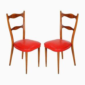 Leder Stühle mit Federsitzen, 1940er, 2er Set