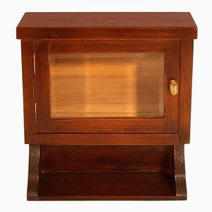 Vitrina de pared o mueble de farmacia Art Déco de roble macizo pulido con cera, años 30