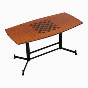 Tavolo da gioco impiallacciato in mogano, anni '70