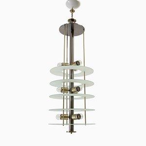 Lámpara de araña postmoderna de vidrio y acero, años 80