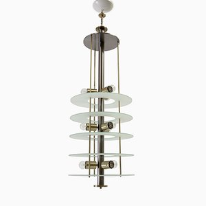 Postmodern Chandelier in Glass and Steel, 1980s