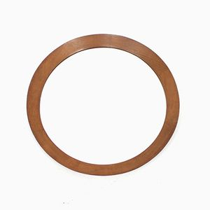 Round Danish Solid Teak Wall Mirror, 1960s