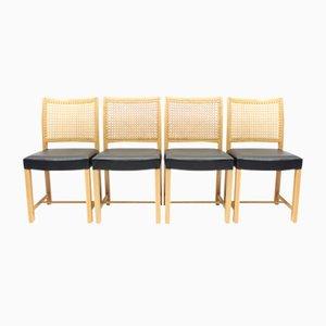Chaises de Salon en Chêne, Cuir et Rotin par Carl Gustaf Hiort af Ornäs pour Mikko Nupponen, Finlande, 1950s, Set de 4