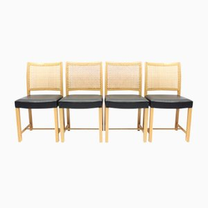 Finnish Oak, Leather & Cane Dining Chairs by Carl Gustaf Hiort af Ornäs for Mikko Nupponen, 1950s, Set of 4